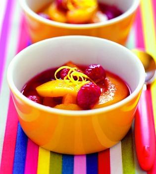 крюшон,вино,фрукты,рецепт,вишня,персик,малина