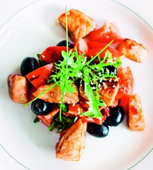 рецепт салата,салат,овощи,овощные рецепты,лосось