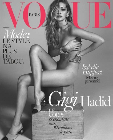 Совершенно голая Джиджи Хадид украсила обложку Vogue