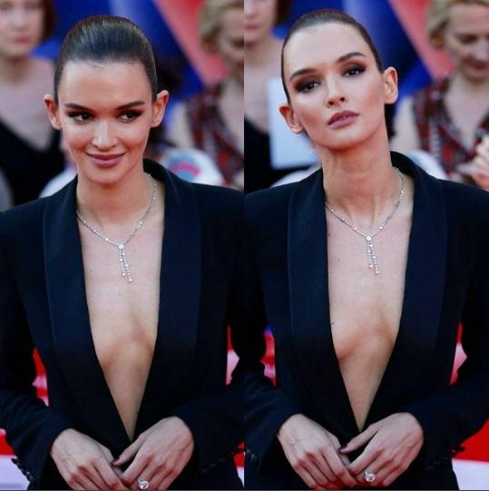 Юная возлюбленная Федора Бондарчука обескуражила публику откровенным декольте