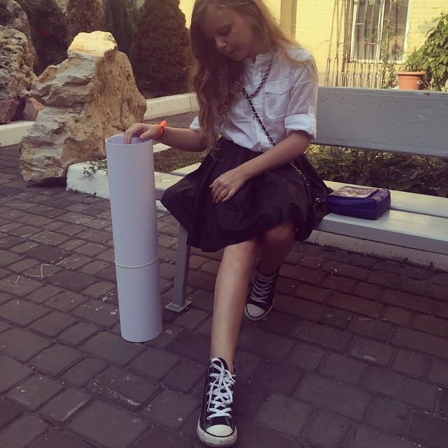 Ольга Фреймут отвела дочь в школу