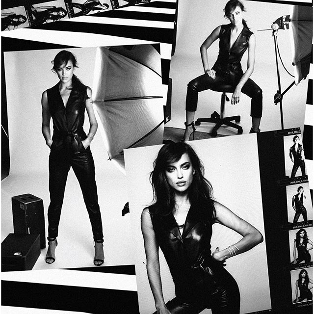 Сексуальная Ирина Шейк в кожаном комбинезоне снялась для модного бренда