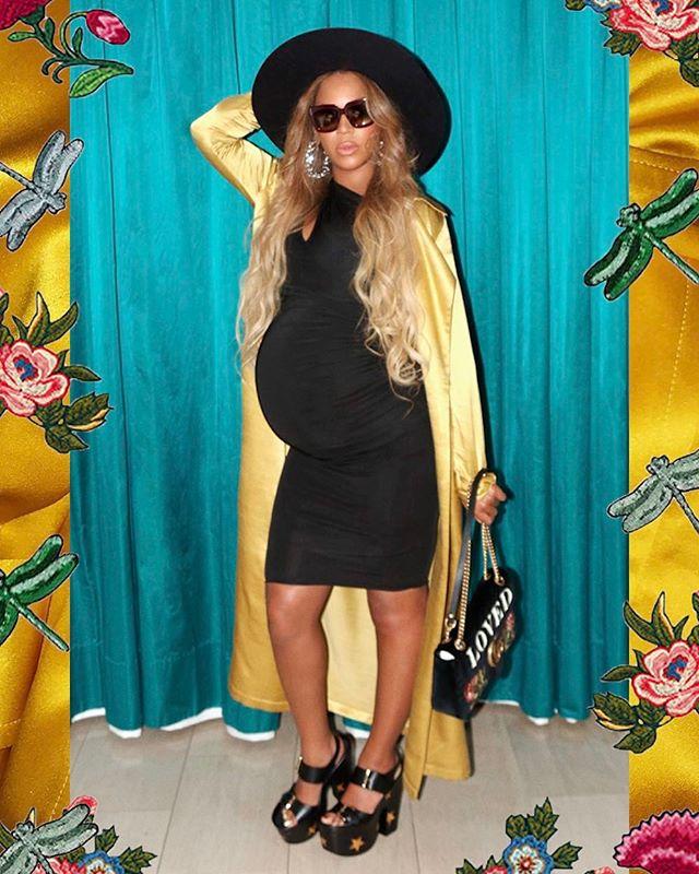 На каблуках и в шляпе: новый беременный лук от модницы Бейонсе