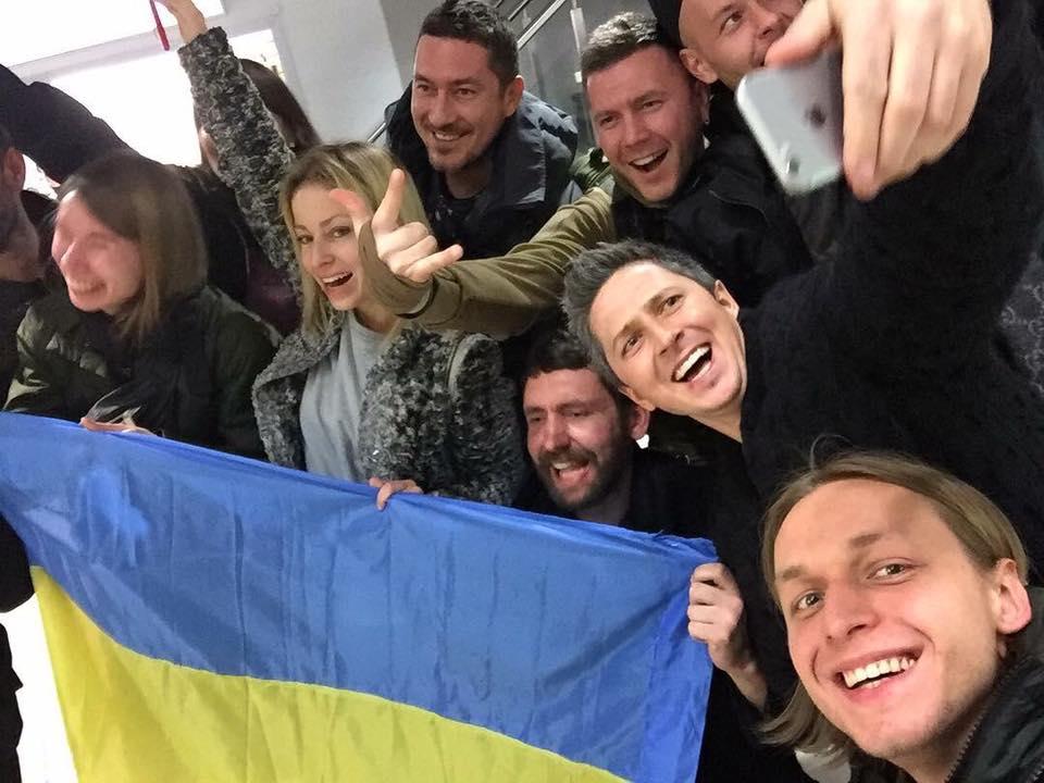 Александр Педан с украинским флагом