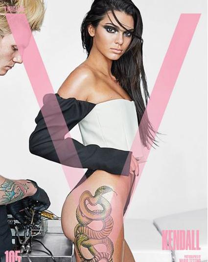 Кендалл Дженнер оголилась и показала огромную татуировку на попе