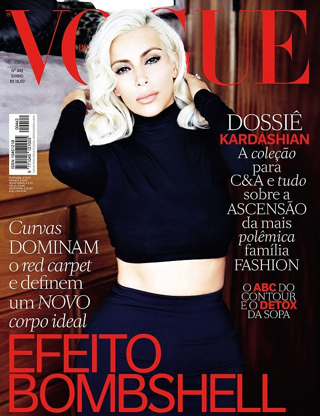 Ким Кардашьян предстала на обложке Vogue в образе Мэрилин Монро