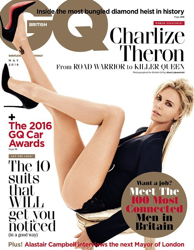 Длинноногая красотка Шарли Терон блисате на обложке британского глянца