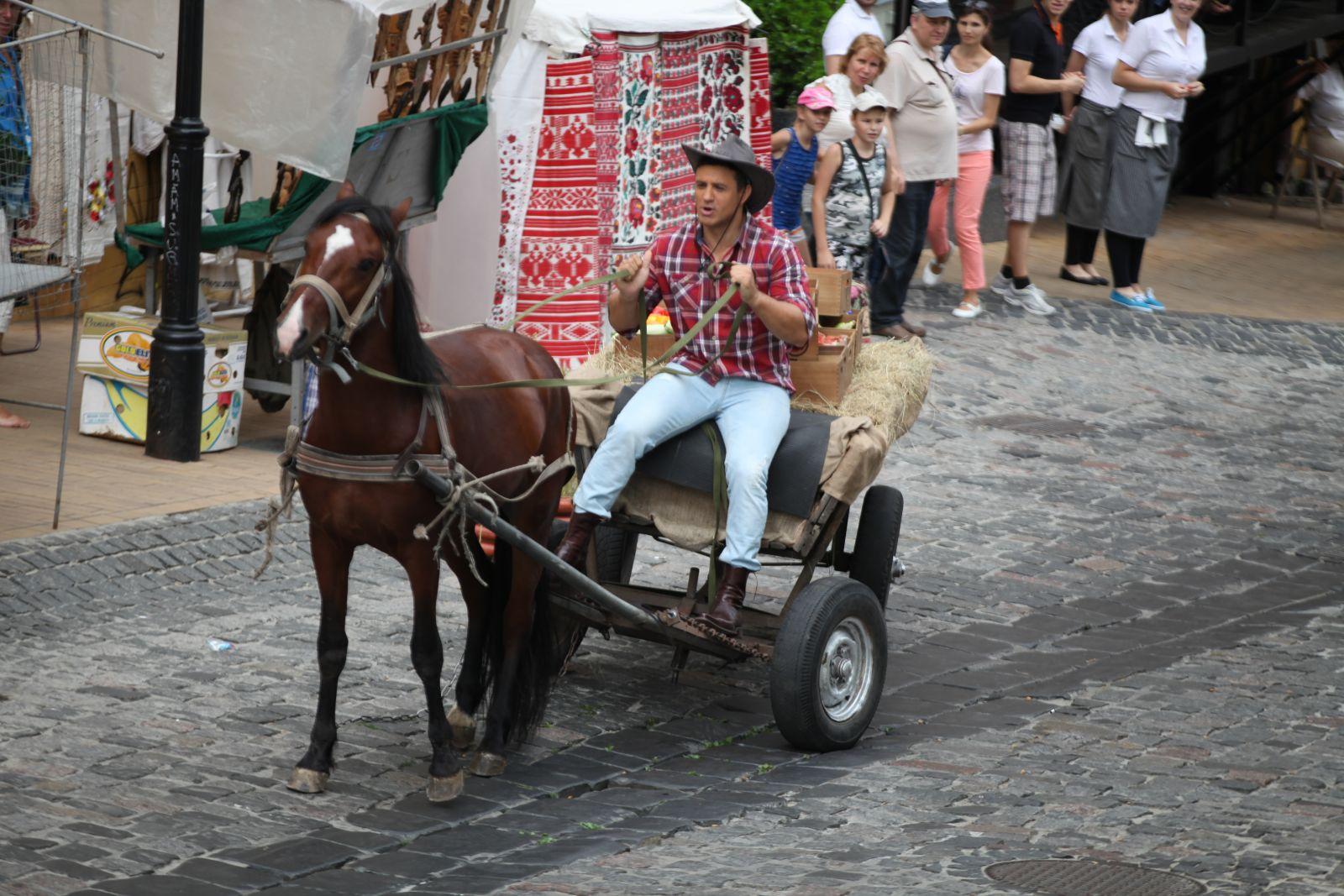 Николай Тищенко променял свой комфортный автомобиль на коня с телегой