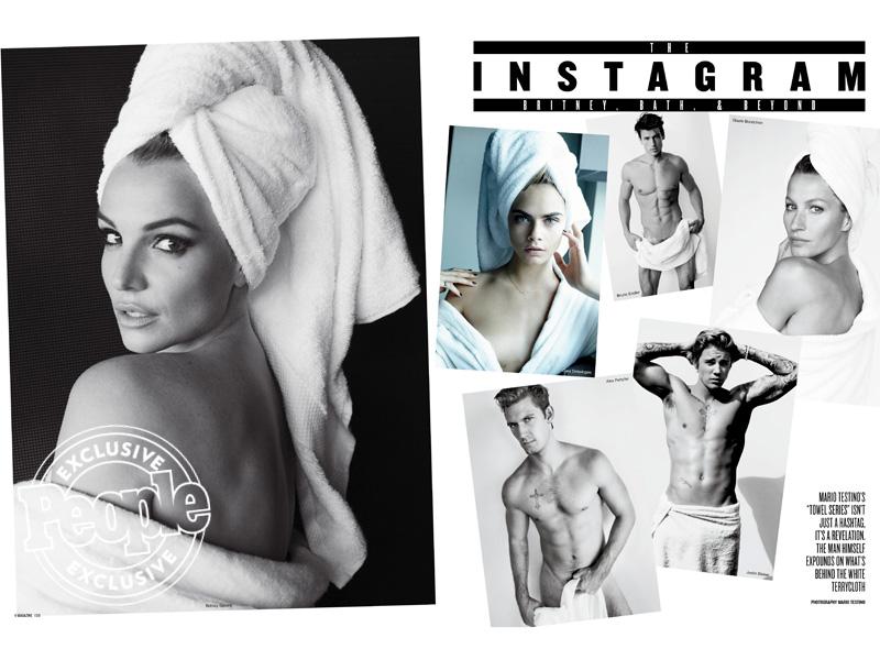 """В сети появились новые снимки серии Марио Тестино """"Towel Series"""" с участием Бритни Спирс, Джастина Бибера и Жизель Бундхен."""