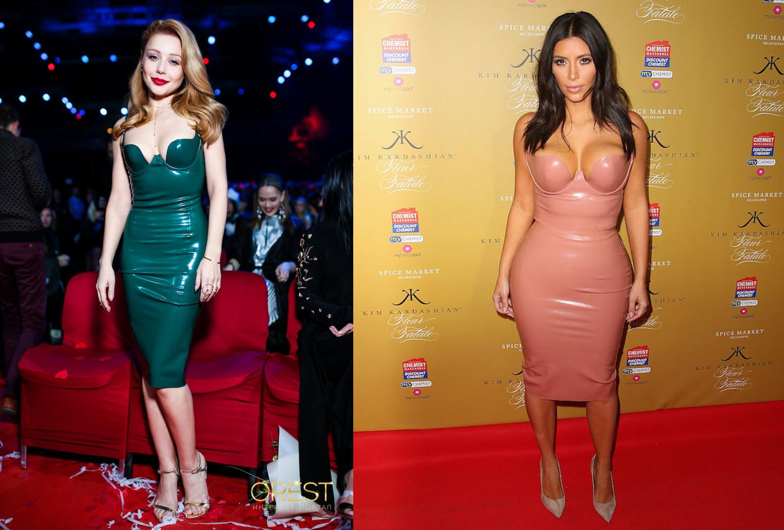 Битва платьев: Ким Кардашьян и Тина Кароль в латексных нарядах
