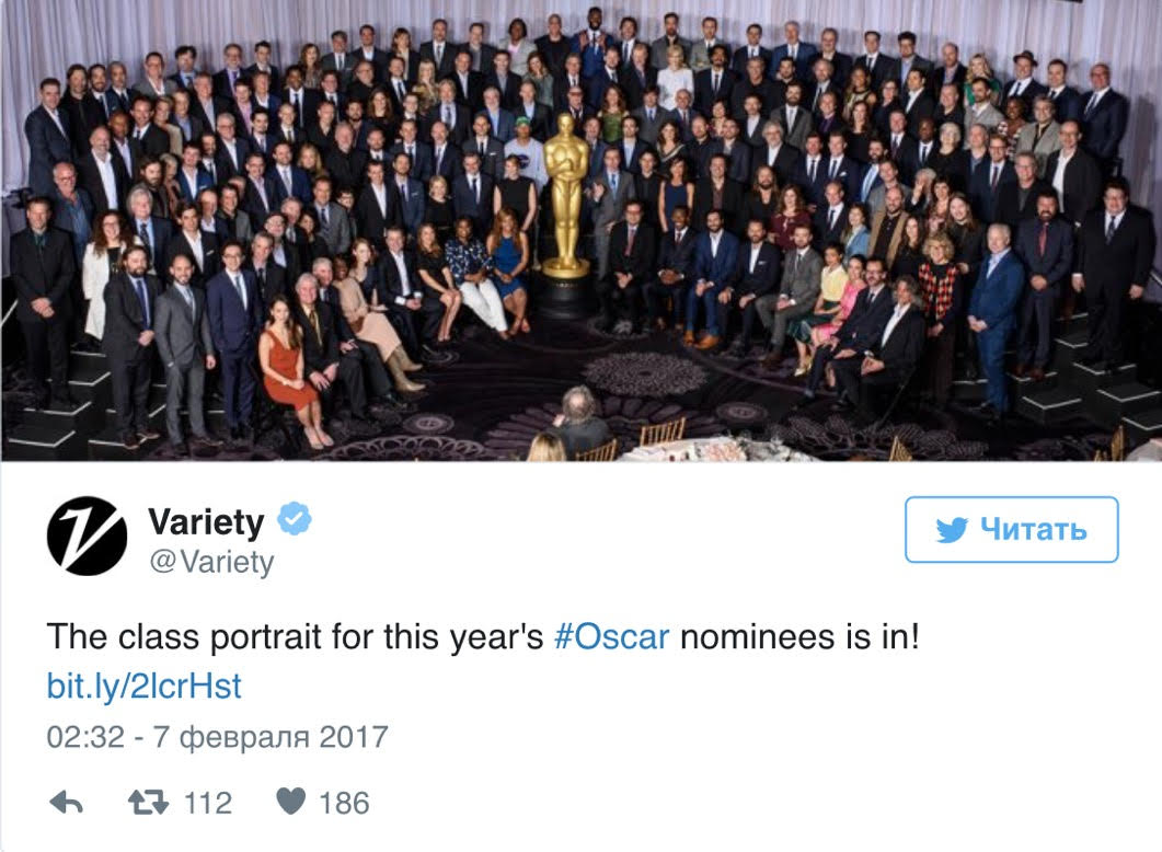Звездный состав: Натали Портман, Райан Гослинг, Эмма Стоун и все номинанты на «Оскар-2017» на одном фото