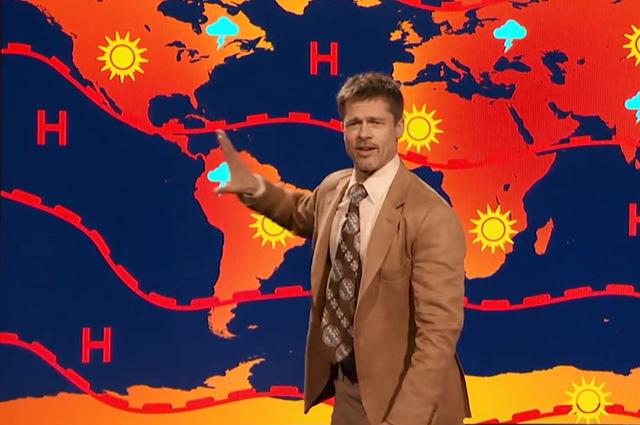 Видео: Брэд Питт появился на телевидении в качестве ведущего прогноза погоды