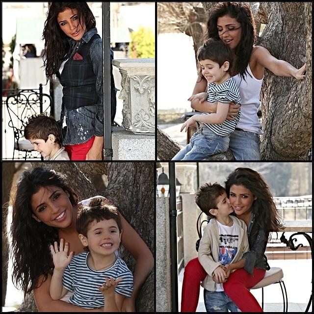 Санта Димопулос и ее сын