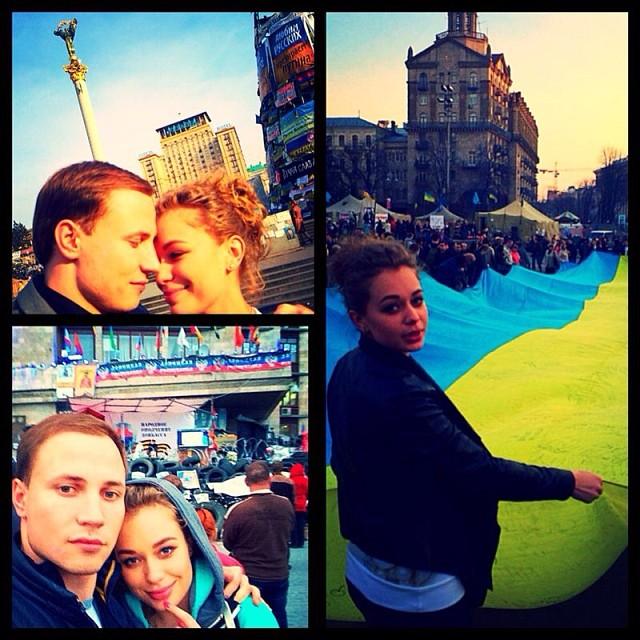 Яна Соломко и ее муж Олег на Майдане