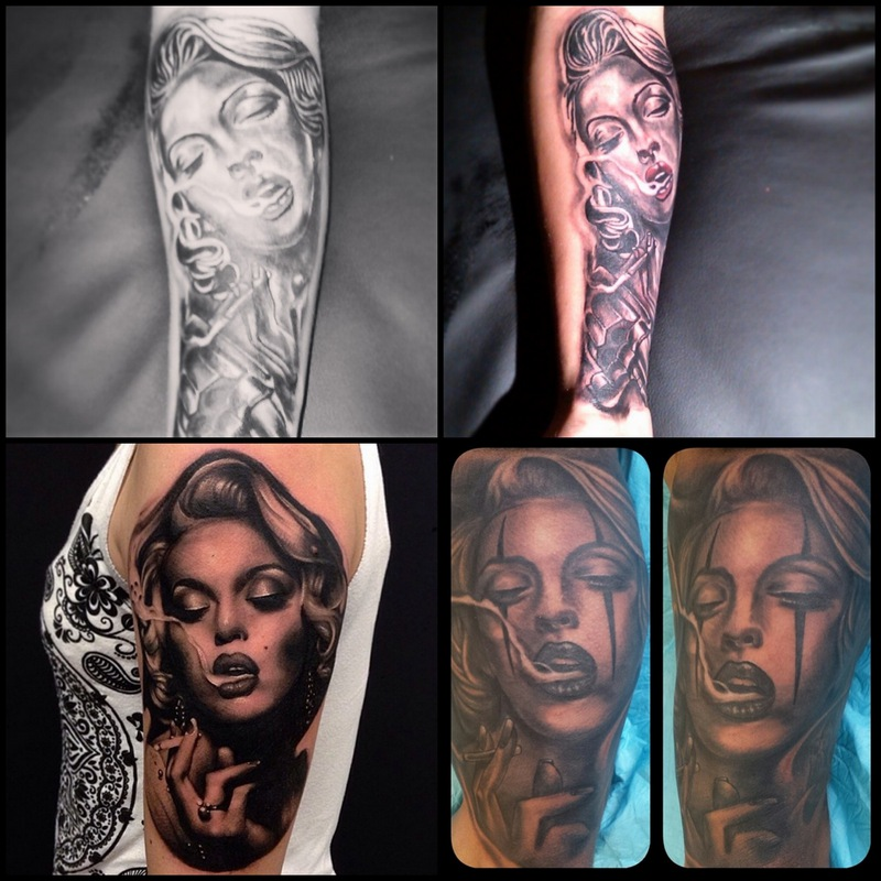мужчины делают татуировки с портретом Оли Поляковой