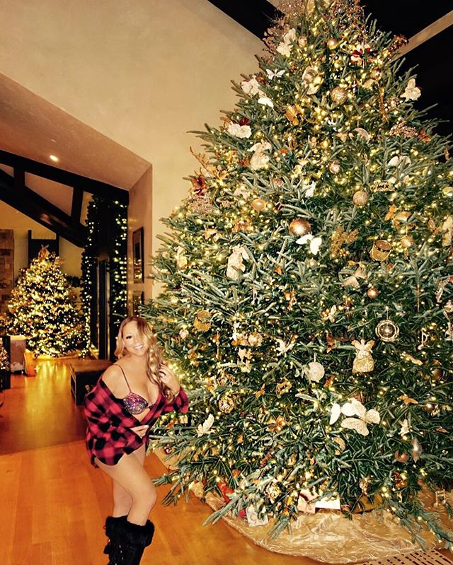 Рождественский соблазн: Мэрайя Кэри позирует возле елки в нижнем белье