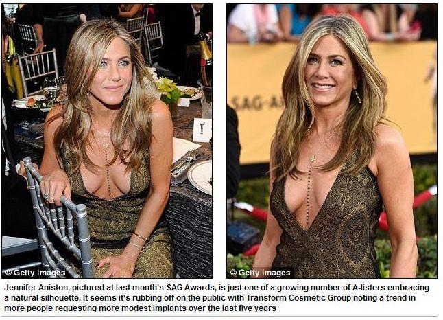 Почему большая силиконовая грудь выходит из моды: всему виной декольте Дженнифер Энистон