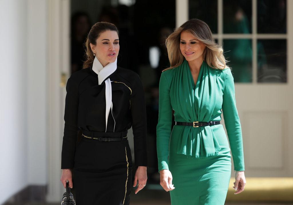 Мелания Трамп блистает в изумрудном платье на встрече с королем Иордании