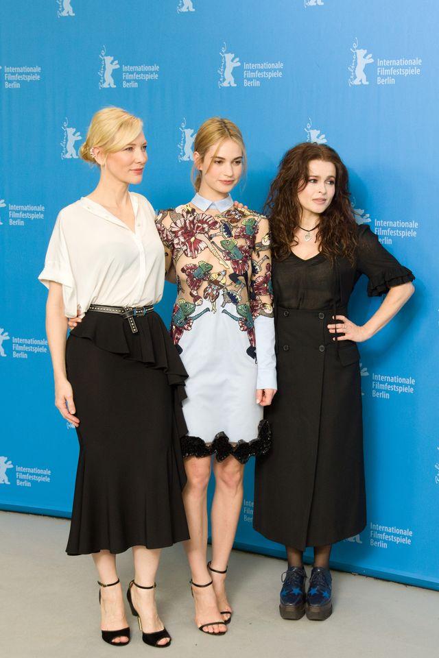 """Кейт Бланшетт, Хелена Бонем Картер и Лили Джеймс блистают на фотоколе """"Золушки"""""""