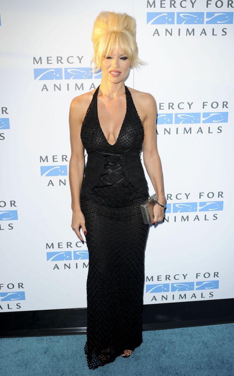 Памела Андерсон вышла в свет в сексуальном вечернем платье