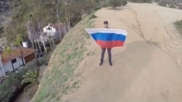 Тимати с флагом России в Голливуде